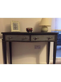 Unique solid vintage console/hall table, sideboard in chalk graphite colour