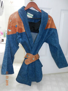 LEATHER TRIMMED DENIM JACKET AND SKIRT FOR SALE