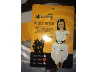 Girl's Halloween White Witch Dress - Age 7-8yrs