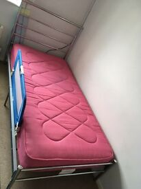 Lovely metal single bed and mattress..