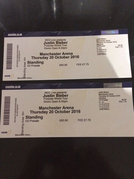 2 X Justin Bieber Tickets At Manchester 02 Arena 20th
