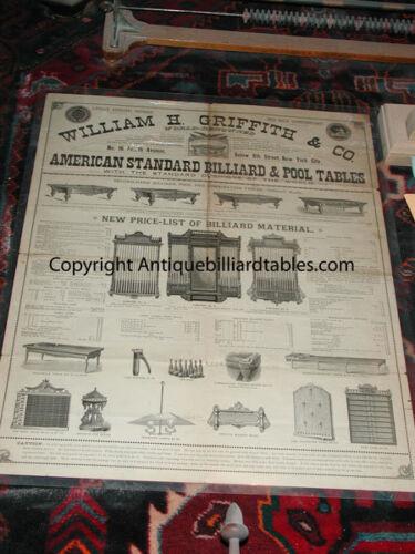 Antique Pool/Brunswick/Billiard W H Griffith & Co Tables & Acc Catalog c1870