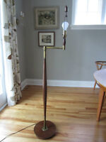 Midcentury Modern Walnut & Heavy Brass Floor Reading Lamp 1950's