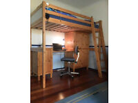 Loft bed, single, with small and large wardrobe, desk, and ladder