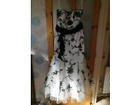 Beautiful strapless ball gown, size 16, white with black embroidery and beading.