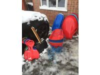 sledges snow shovels with long and short poles bumskids large sledges