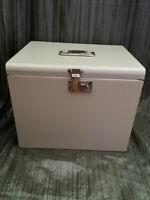 Vintage Metal File box, lid with handle, lock & 2 keys EUC