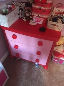 2 cabinets with 3 drawers each- pink and green!! LIKE NEW!!