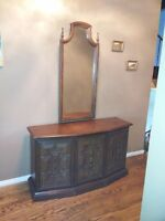 Solid Oak Hallway Cabinets and Mirror