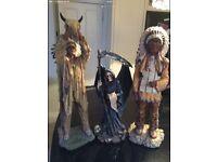 Native Indian Ornaments & Grim Reaper Gothic Statue