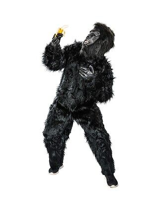 Gorilla-Kostüm in schwarz / Affen Plüsch-Overall mit Maske & Händen / Affe