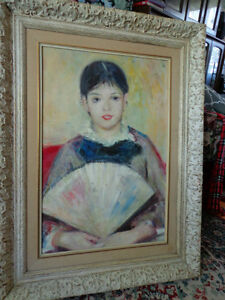 REAL PAINTING GIRL WITH FAN  AFTER RENOIR