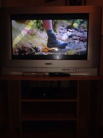 Tv with Tv unit and freeview box