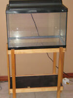Fish tank with wooden stand