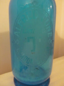Antique Blue glass Seltzer Bottle Alfred Tune London Canada London Ontario image 2