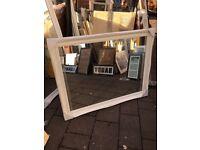 """large white wooden swept framed mirror 46""""x36"""""""