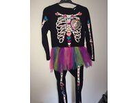 Girl's Skeleton Jumpsuit with Tutu - Age 7-8