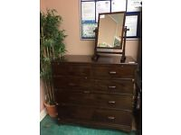 Antique Vintage chest of drawers dark wood up-cycle project casters