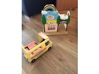 Sylvanian families nursery school bus and rainbow nursery