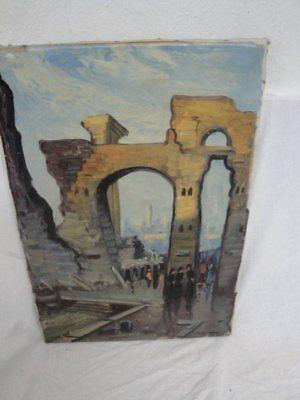 schönes Gemälde einer Ruine signiert *
