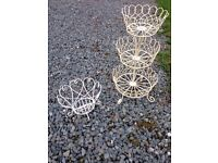 cupcake stand and heart wire dish Shabby chic cottage style