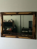 "Antique framed mirror 42""x31"" Ext.dim.Hangs Vertical or Horizont"