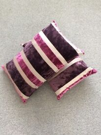 Purple striped cushions, excellent condition