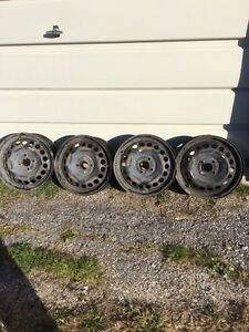 4 steel rims for sale with 4 tire pressure monitors on them!
