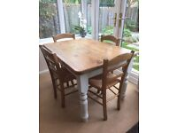 Rustic 4 seater solid pine table and chairs