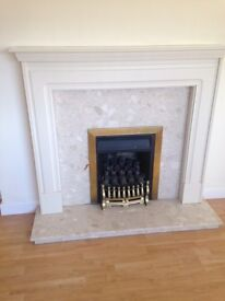 Beige WoodenFire Surround, Marble Hearth & Backpanel