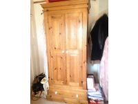 Double door pine wardrobe with drawer SOLD