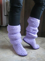 Crochet slouch winter boot-style slippers
