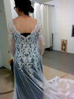 White or Blue Wedding Dress with Stunning Lace Coat