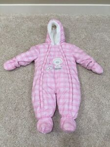 Like New Pink Plaid One Piece Snowsuit, Size 9 Months