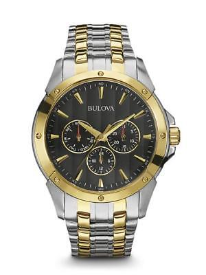 Bulova 98C120 Men's Dress Chronograph Black Dial Two-Tone Stainless Steel Watch