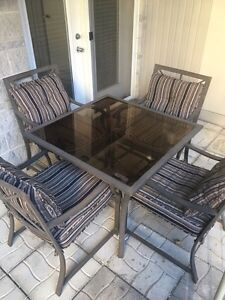 Patio table with outdoor cushions