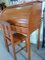 Small Oak Roll Top desk and chair