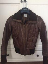 Ladies Oasis Biker Leather Jacket - Size 10