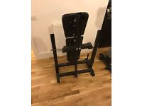 Folding bench, dumbbells, tricep bar, weights