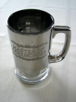 "ETCHED ""MASTER OF CEREMONIES"" SILVER GLASS  BEVERAGE MUG"