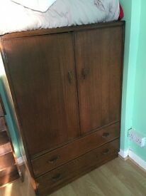 Oak wardrobes and bureau
