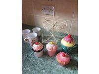 Kitchen bundle- cake stand, cupcake pots and mugs