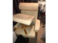 Reclining leather chair and foot stool