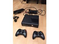 Xbox 360 with 2 x controllers, connect sensor & headset
