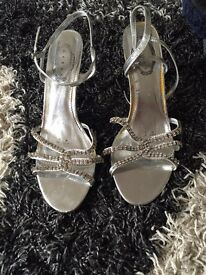 Silver sandals with small heel worn once size 7