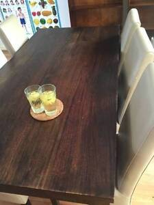 Beautiful mango wood dining / dinning table plus 6 leather chairs Mascot Rockdale Area Preview