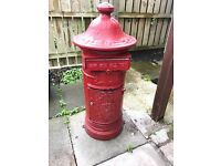 Large red heavy cast iron post box postbox