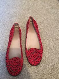Topshop red leopard print loafers flats sz5