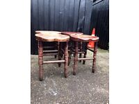 4 solid wood bar stools - great for shabby chic project