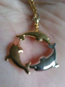 Tri-gold dolphin necklace